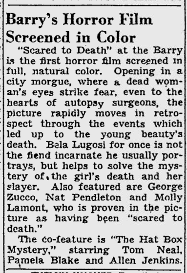 Scared To Death, Pitsburgh Post-Gazette, July 10, 1947