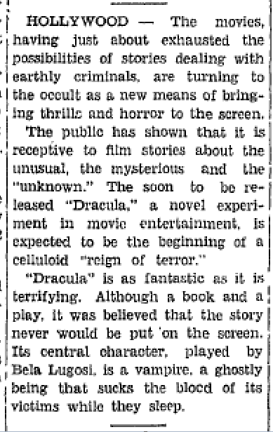 Dracula Screen Life in Hollywood by Hubbard Keavy Plattsburgh Daily Press, January, 1931