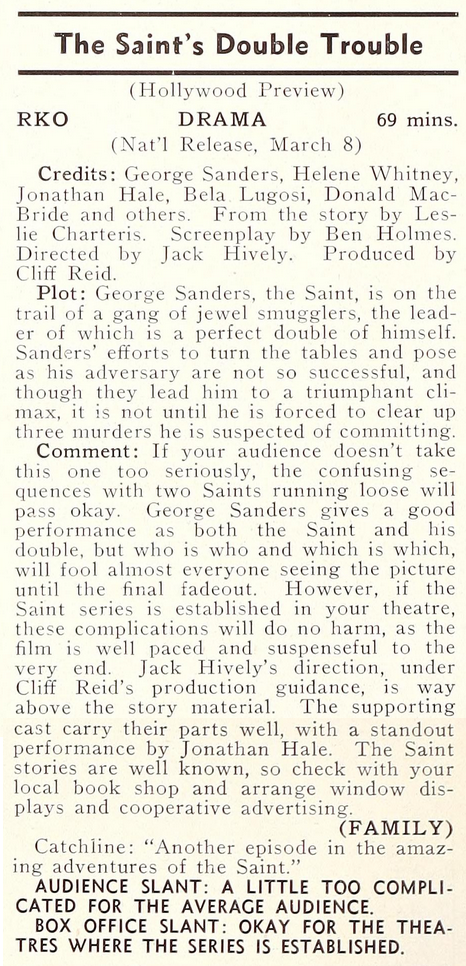 The Saint's Double Trouble, Showmen's Trade Review, January 20, 1940