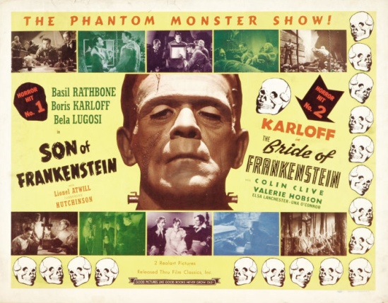 Son of Frankenstein 1947 Double Bill Re-release Half Sheet