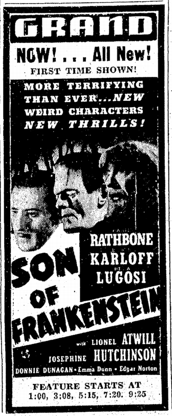 Son of Frankenstein, Bellingham Herald, March 19, 1939