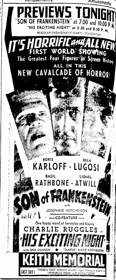 Son of Frankenstein, Boston Herald, January 12,1939