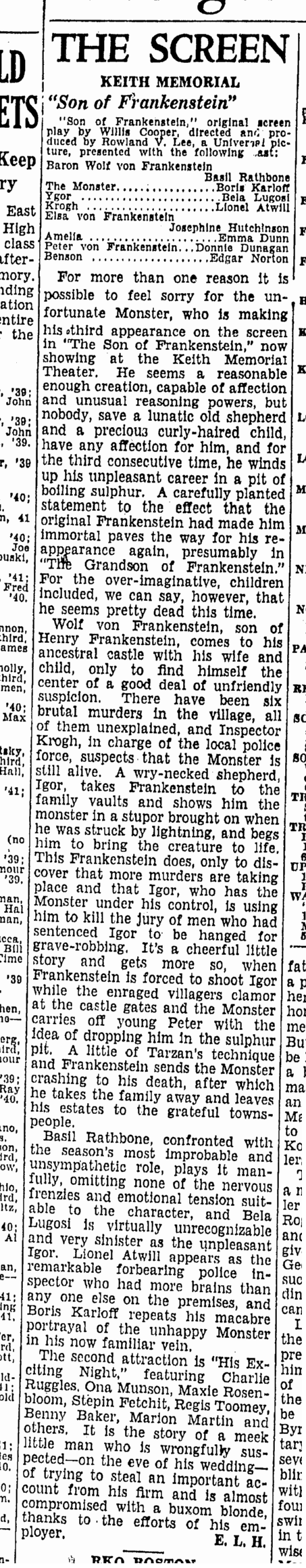 Son of Frankenstein, Boston Herald, January 14, 1939 2
