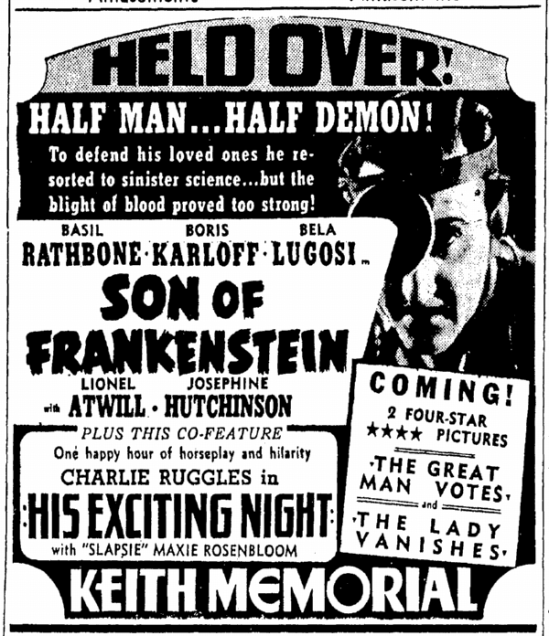 Son of Frankenstein, Boston Herald, January 19, 1939