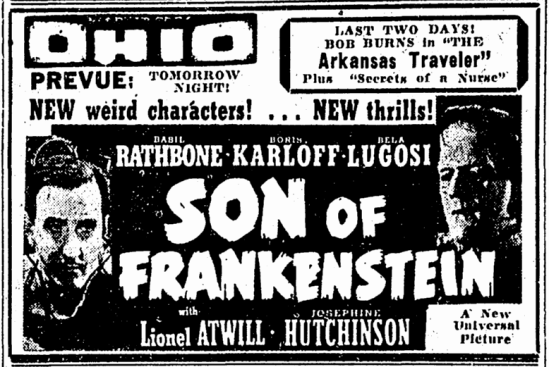 Son of Frankenstein, Canton Repository, January 18, 1939