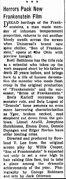 Son of Frankenstein, Canton Repository, January 19, 1939