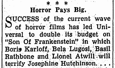 Son of Frankenstein, Canton Repository, November 14, 1938