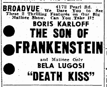 Son of Frankenstein, Cleveland Plain Dealer, February 26, 1939