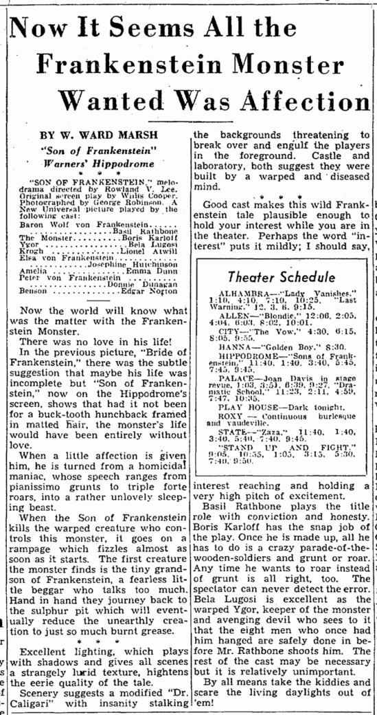 Son of Frankenstein, Cleveland Plain Dealer, January 16, 1939 2