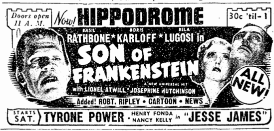 Son of Frankenstein, Cleveland Plain Dealer, January 16, 1939