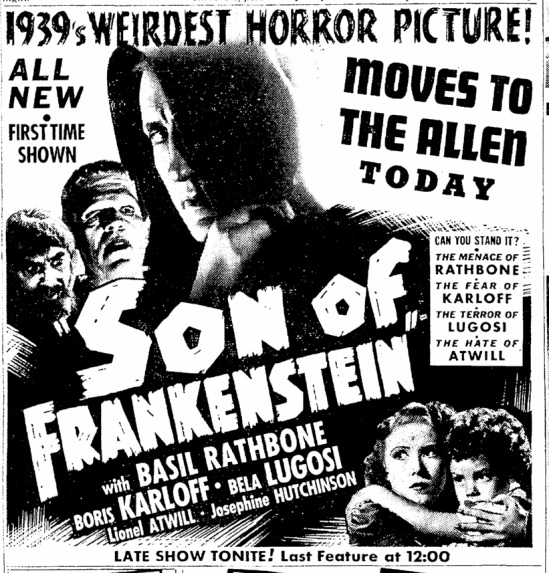 Son of Frankenstein, Cleveland Plain Dealer, January 21, 1939