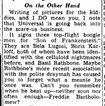 Son of Frankenstein, Cleveland Plain Dealer, November 20, 1938