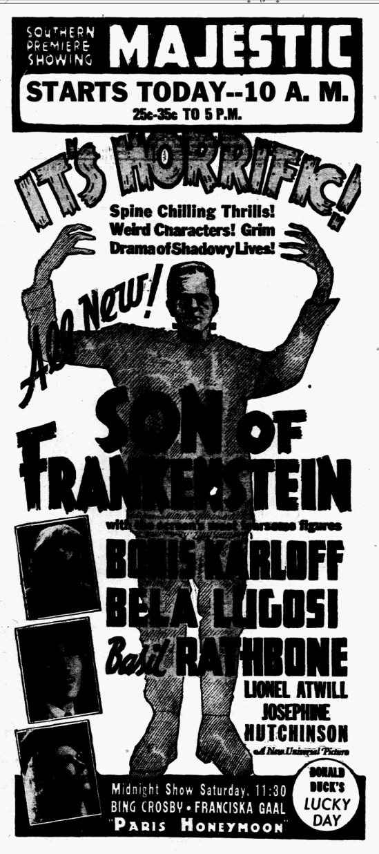 Son of Frankenstein, Dallas Morning News, January 14, 1939
