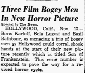 Son of Frankenstein, Dallas Morning News, November 14, 1938