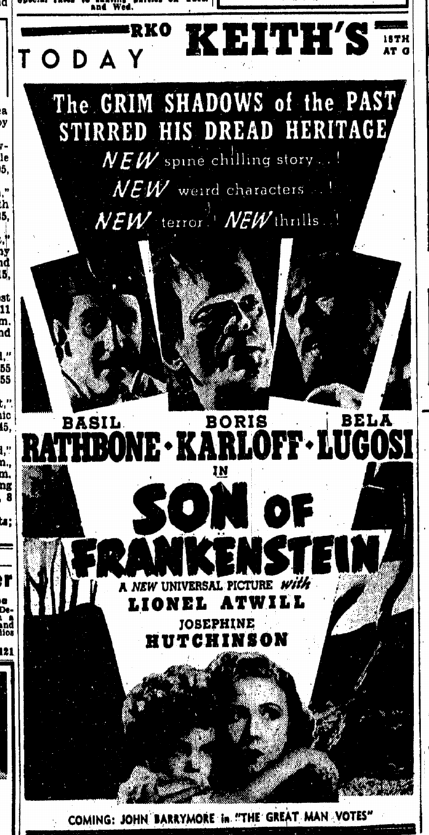 Son of Frankenstein, Evening Star, January 12, 1939