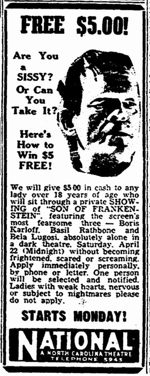 Son of Frankenstein, Greensboro Record, April 18, 1939