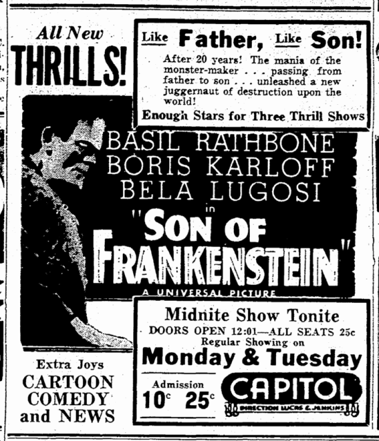 Son of Frankenstein, Macon Telegraph, May 7, 1939