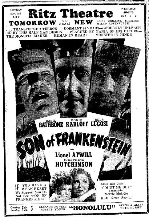 Son of Frankenstein Newspaper Ad
