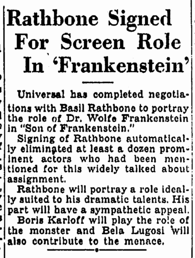 Son of Frankenstein, Oregonian, November 20, 1938