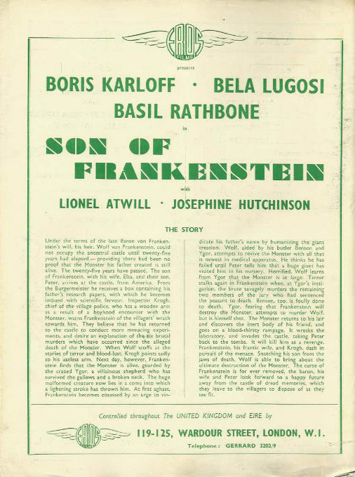Son of Frankenstein Re-issue press book