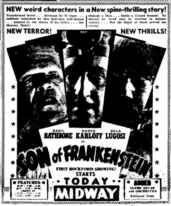 Son of Frankenstein, Rockford Morning Star, January 22, 1939