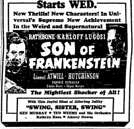 Son of Frankenstein, San Diego Union, January 15, 1939