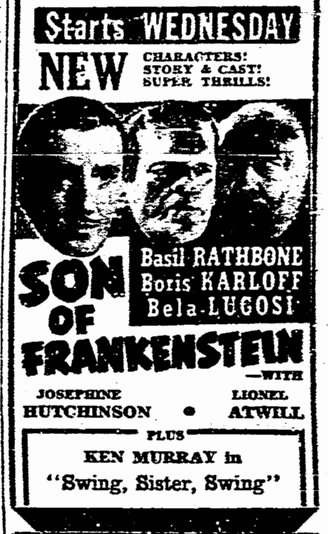 Son of Frankenstein, San Diego Union, January 16, 1939