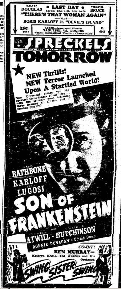 Son of Frankenstein, San Diego Union, January 17, 1939