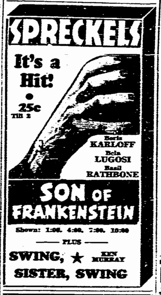 Son of Frankenstein, San Diego Union, January 23, 1939