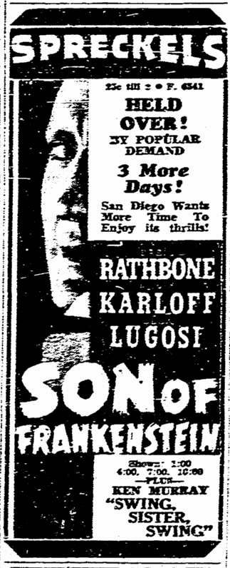 Son of Frankenstein, San Diego Union, January 24, 1939