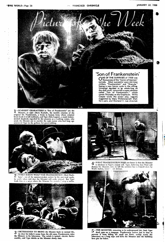 Son of Frankenstein, San Francisco Chronicle, January 21, 1939