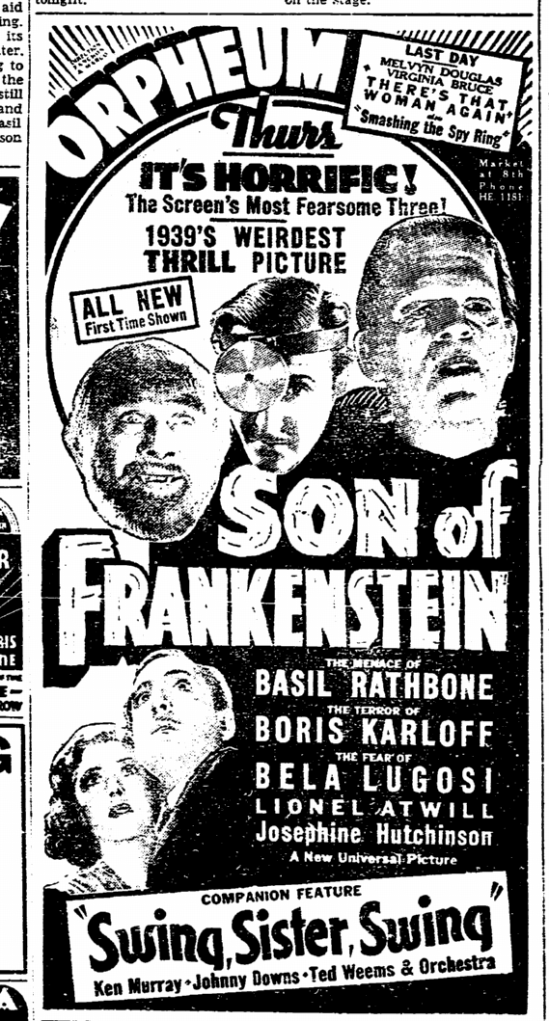 Son of Frankenstein, San Francisco Chronicle, January 25, 1939