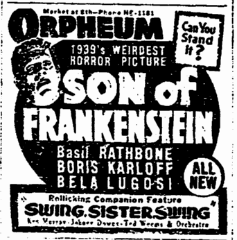 Son of Frankenstein, San Francisco Chronicle, January 30, 1939