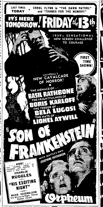 Son of Frankenstein, Seattle Daily Times, January 12, 1939