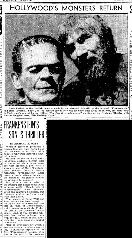 Son of Frankenstein, Seattle Daily Times, January 13, 1939