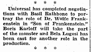 Son of Frankenstein, Seattle Daily Times, November 4, 1938