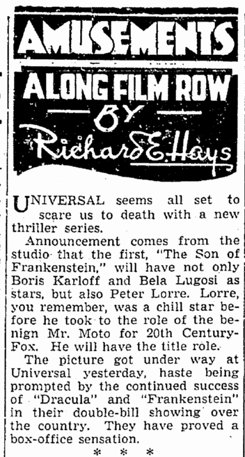 Son of Frankenstein, Seattle Daily Times, October 18, 1938