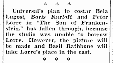 Son of Frankenstein, Seattle Daily Times, October 28, 1938