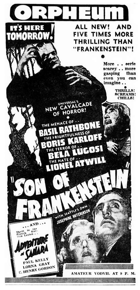 Son of Frankenstein Spokane Daily Chronicle February 3, 1939