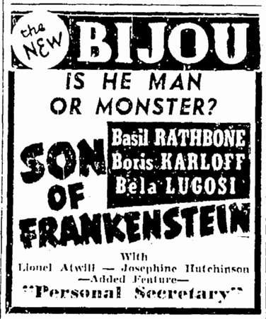 Son of Frankenstein, The Times-Picayune, January 27, 1939