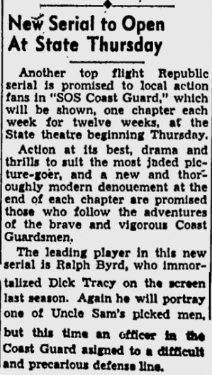 SOS Coast Guard, Eugene Register-Guard, March 6, 1938