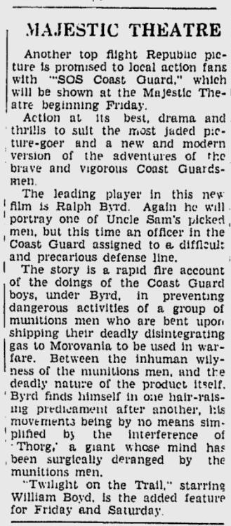 SOS Coast Guard, The Daily Times, July 2, 1942