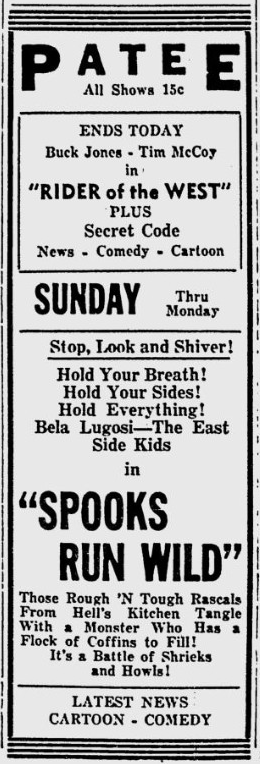 Spooks Run Wild, Lawrence Journal-World, November 7, 1942