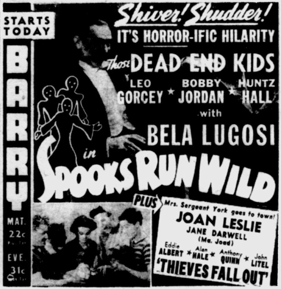 Spooks Run Wild, Pittsburgh Post-Gazette - October 29, 1941