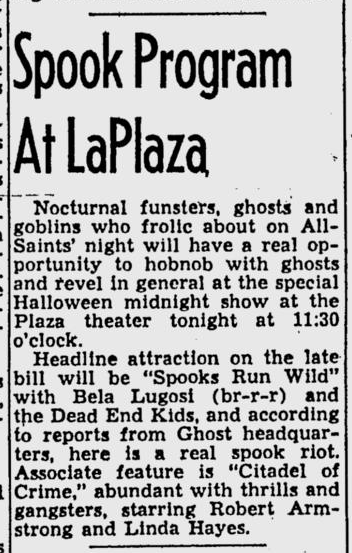 Spooks Run Wild, St. Petersburg Times, October 31, 1941 b