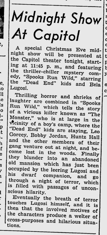 Spooks Run Wild, The Miami News, December 24, 1941 b
