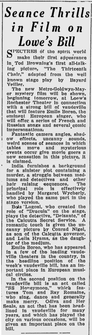 The 13th Chair, Rochester Evening Journal Post Express, December 14, 1929