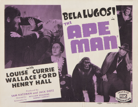 The Ape Man 1949 Re-Release Lobby Card 1