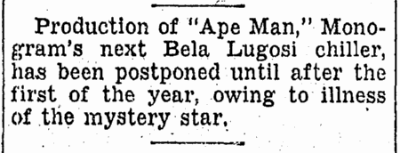 The Ape Man, Idaho Statesman, December 6, 1942
