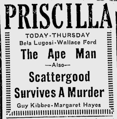 The Ape Man, Lewiston Evening Journal, April 14, 1943